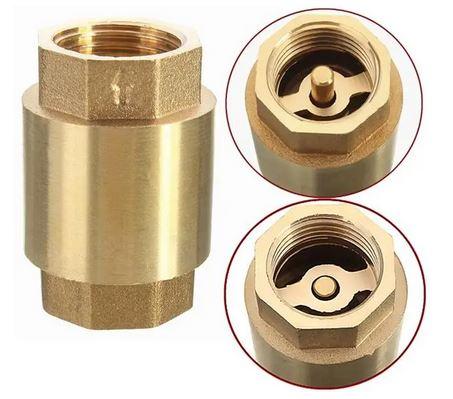 Spring loaded brass check valve